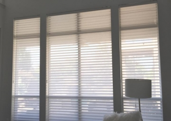 Silhouette Light Filtering Shades & Solera Room Darkening Shades by Hunter Douglas, installed in newly remodeled Frisco home.