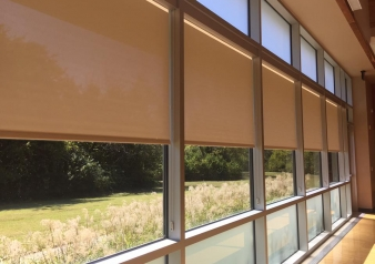 Custom Designer Screen Shades by Hunter Douglas Installed at Richardson Heights Recreation Center.