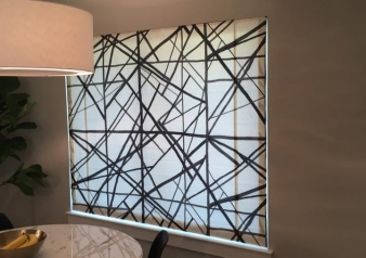 Fabulous Geometric Fabric makes Amazing Statement! Check out this Custom Roman Shade we Installed in our Client's Contemporary Breakfast Nook! Kravet Fabric - Challis Lining