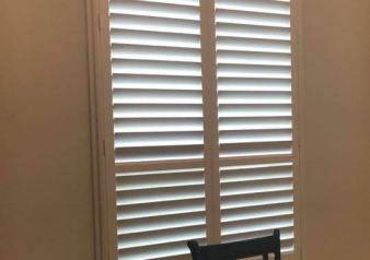 Palm Beach Poly Satin Shutters with Lantana Hidden Tilt System and NewStyle Hybrid Eyebrow Arch Shutter w/ Rear Tilt....installed in Sachse by SmartLooks!