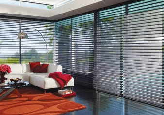 Silhouette & Nantucket Shades / Natucket Fabric Material: Sunscreen Privacy Shadings Color: Black Pebble