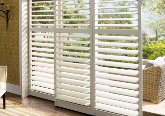 Palm Beach Shutters with Lantana / Palm Beach Fabric Material: Polysatin Color: Linen