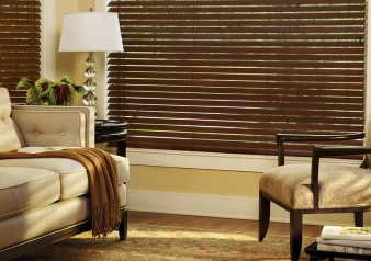 Everwood Blinds / Parkland Classics Fabric Material: Basswood Color: Walnut