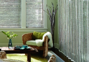Provenance Woven Wood Roman Shades & Vertical Woven Woods / Provenance Fabric Material: Cambria Color: Pebble White